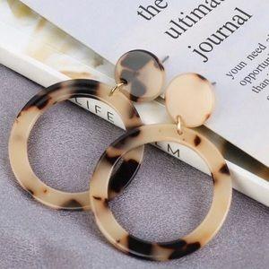 Vintage Style Acetate Golden Tortoise Earrings